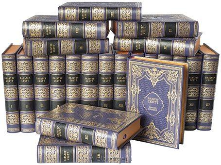 'Собрание сочинений Вальтера Скотта (22 тома)' в кожаном переплете