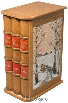Антикварная книга 'Стихотворения Н. Некрасова (3 тома)' в кожаном переплете